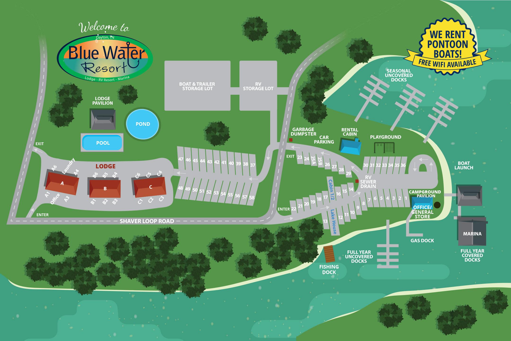 Blue Water Lodge RV Resort Property Map Dayton, TN